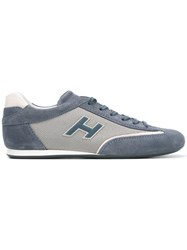 Hogan Olympia Sneakers Men Leather Polyester Rubber 9 Blue