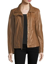 Ellen Tracy Lambskin Scuba Paneled Jacket Brown
