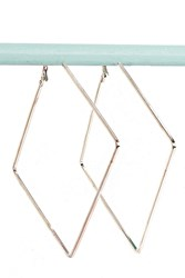 Boohoo Square Angle Hoop Earrings Rose Gold