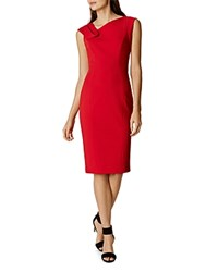 Karen Millen Fold Detail Pencil Dress Red