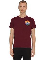 Kenzo Painted Landscape Cotton T Shirt Bordeaux