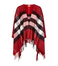Burberry Shoes And Accessories House Check Wool Cashmere Cape Female Red