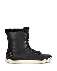 Ugg Croft Embossed Leather Shearling And Velvet Lace Up Sneakers Black