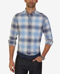 Nautica Men's Big And Tall Valiant Plaid Shirt Dellaro Blue