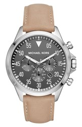 Michael Kors Gage Chronograph Leather Strap Watch 45Mm Brown Gray Silver