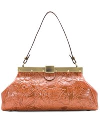 Patricia Nash Floral Tooled Satchel Dusty Rose Gold