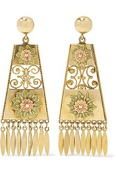 Fred Leighton 1880S 18 Karat Yellow And Rose Gold Earrings
