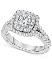 Marchesa Certified Diamond Square Halo Engagement Ring 1 1 4 Ct. T.W. In 18K White Gold