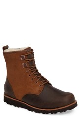 Uggr Men's Ugg 'Hannen' Plain Toe Waterproof Boot With Genuine Shearling Dark Chestnut Leather