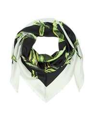 Emilio Pucci Birds Print Silk Shawl W Fringes Black White