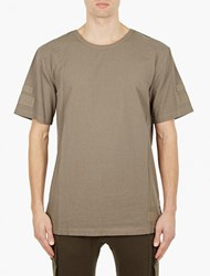 Helmut Lang Olive Cotton Tape Detail T Shirt Green