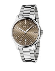 Gucci Stainless Steel Brown Dial Bracelet Watch Silver