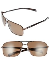 Men's Polaroid Eyewear 64Mm Polarized Aviator Sunglasses Brown