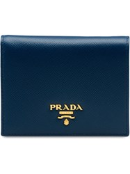 Prada Small Leather Wallet Blue