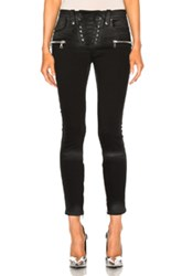 Unravel Denim Lace Up Skinny Pants In Black