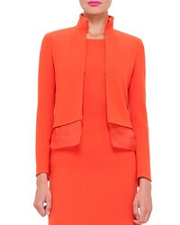 Akris Long Sleeve Wool Crepe Mock Neck Jacket Zinnia