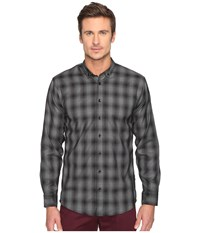 Publish Kalyb Micro Houndstooth Button Down Black Long Sleeve Button Up