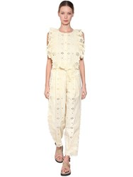 Alberta Ferretti Cotton Blend Lace Jumpsuit Ligth Yellow