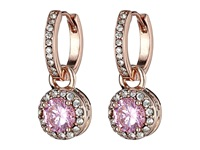 Betsey Johnson Cubic Zirconia Recolor Small Hoop Circle Drop Earrings Pink Earring