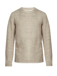Saturdays Surf Nyc Alek Ribbed Linen Blend Sweatshirt Light Beige