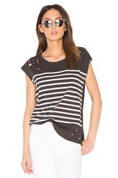 Sundry Distressed Stripe Tee Black