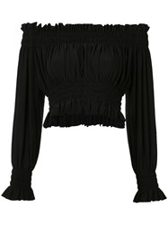 Norma Kamali Cropped Peasant Blouse Black