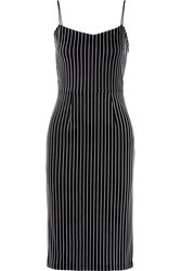 Tanya Taylor Paulina Striped Stretch Jersey Dress Black