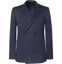 Bottega Veneta Navy Slim Fit Double Breasted Woven Blazer Blue