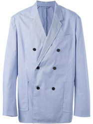 3.1 Phillip Lim Striped Double Breasted Blazer Blue