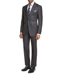 Tom Ford Windsor Base Birdseye Two Piece Suit Charcoal Gray