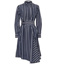 Brunello Cucinelli Striped Cotton Shirt Dress Blue
