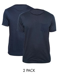 Brave Soul 2 Pack Polka Crew T Shirts Navy