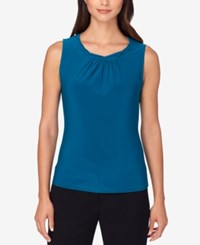 Tahari By Arthur S. Levine Asl Pleat Neck Shell Teal