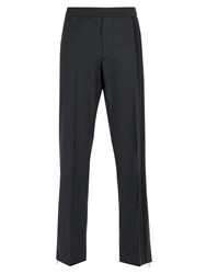 Valentino Side Striped Wool Blend Trousers Black
