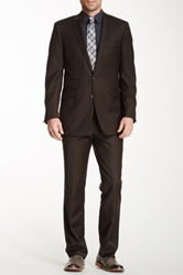 Ben Sherman Solid Brown Two Button Notch Lapel Wool Suit