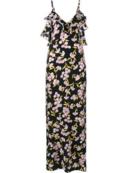 Marni Floral Print Silk Long Dress Black