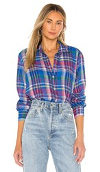 Frank And Eileen Long Sleeve Button Down Top In Blue. Large Blue And Green Plaid