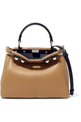 Fendi Peekaboo Mini Studded Leather Shoulder Bag Taupe
