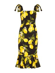 Dolce And Gabbana Lemon Print Fluted Hem Straps Dress