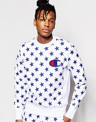 Champion Sweatshirt With All Over Star Print White