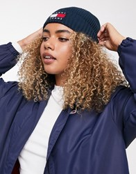 Tommy Jeans Heritage Flag Logo Beanie Navy