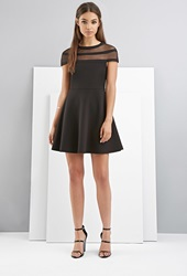 Forever 21 Foxiedox Shadow Striped Skater Dress Black