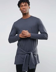 Asos Longline Long Sleeve T Shirt With Tie Waist Washed Black
