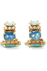 Elizabeth Cole Cameron Gold Plated Swarovski Crystal And Stone Earrings Blue