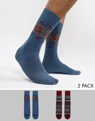 Totes Twin Pack Socks Navy