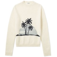 Saint Laurent Sunset Mohair Crewneck Knit Neutrals