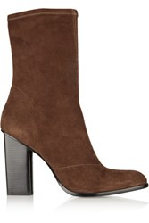 Alexander Wang Gia Stretch Suede Ankle Boots Chocolate