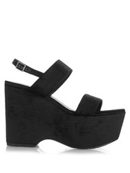 Saint Laurent Candy Velvet Wedge Sandals Black