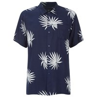 Obey Clothing Men's Palm Fan Woven Short Sleeve Shirt Navy White Print
