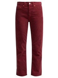 Re Done Originals High Rise Stovepipe Corduroy Jeans Burgundy